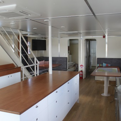 communal lounge kitchen aboard kimberley pearl boat