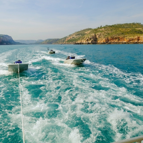 dinghy boats tendered to kimberley pearl following behind
