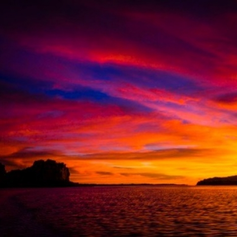 vibrant purple orange sunset sky