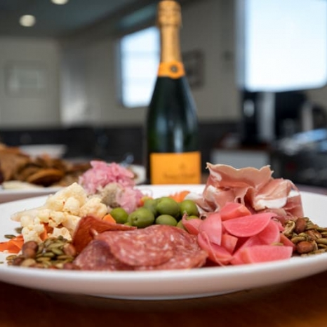 champagne and meat tray