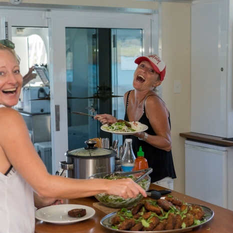 serving up lunch aboard kimberley pearl fishing charter