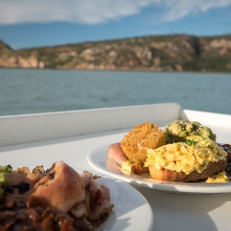 scrambled eggs for breakfast aboard the kimberley pearl