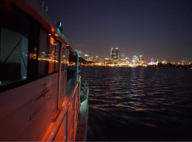 kimberley pearl perth private charter on swan river at night